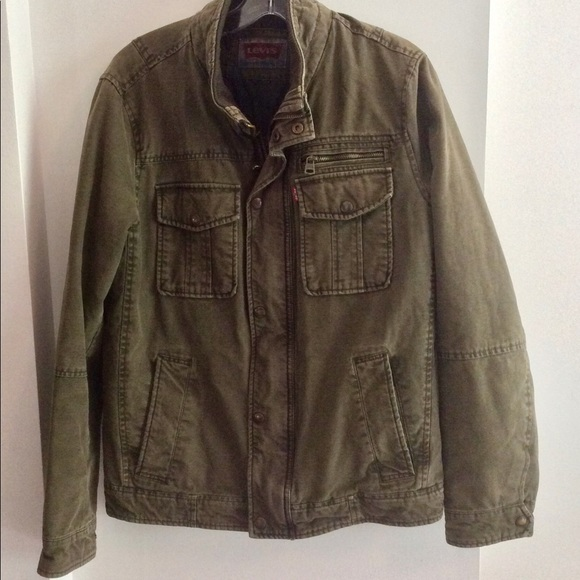 Mens Levis Jacket Army Green Size Small